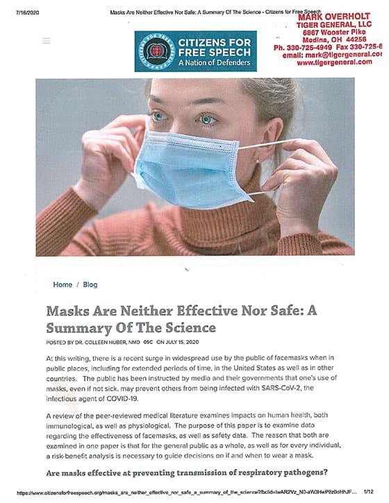 »Masken sind weder wirksam noch sicher« – eine wissenschaftliche Übersicht: